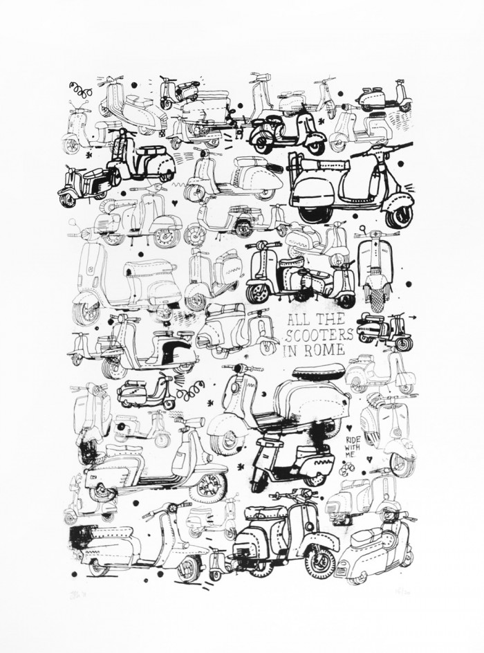 All The Scooters In Rome Screenprint