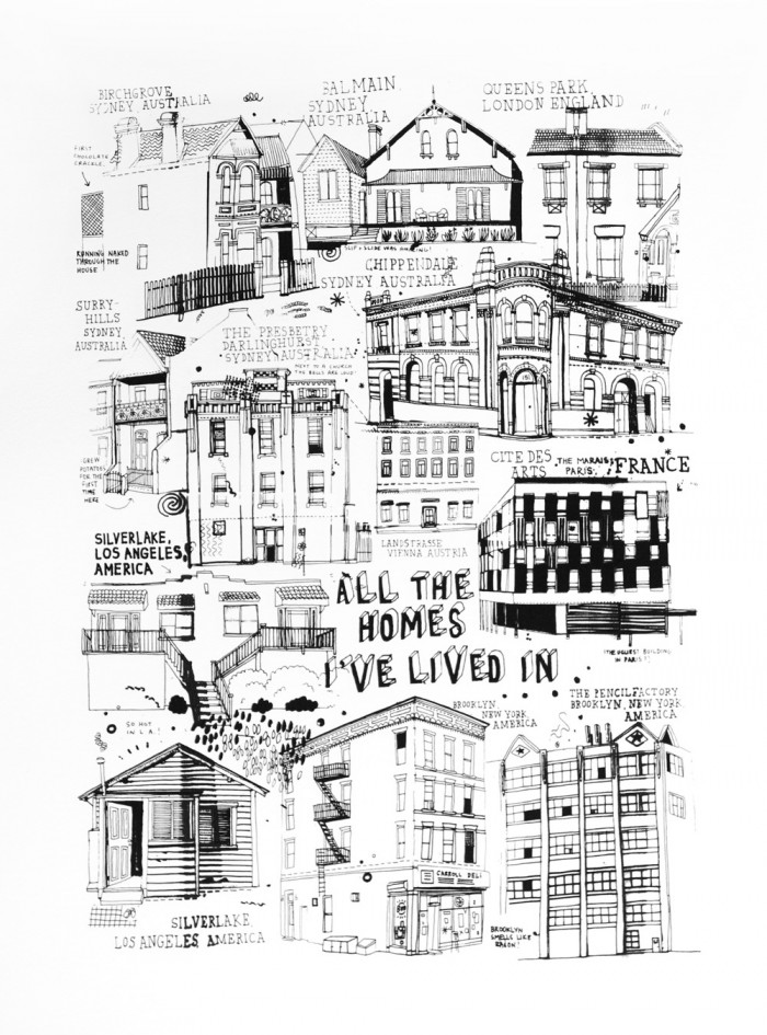 All The Homes I've Lived In Screenprint